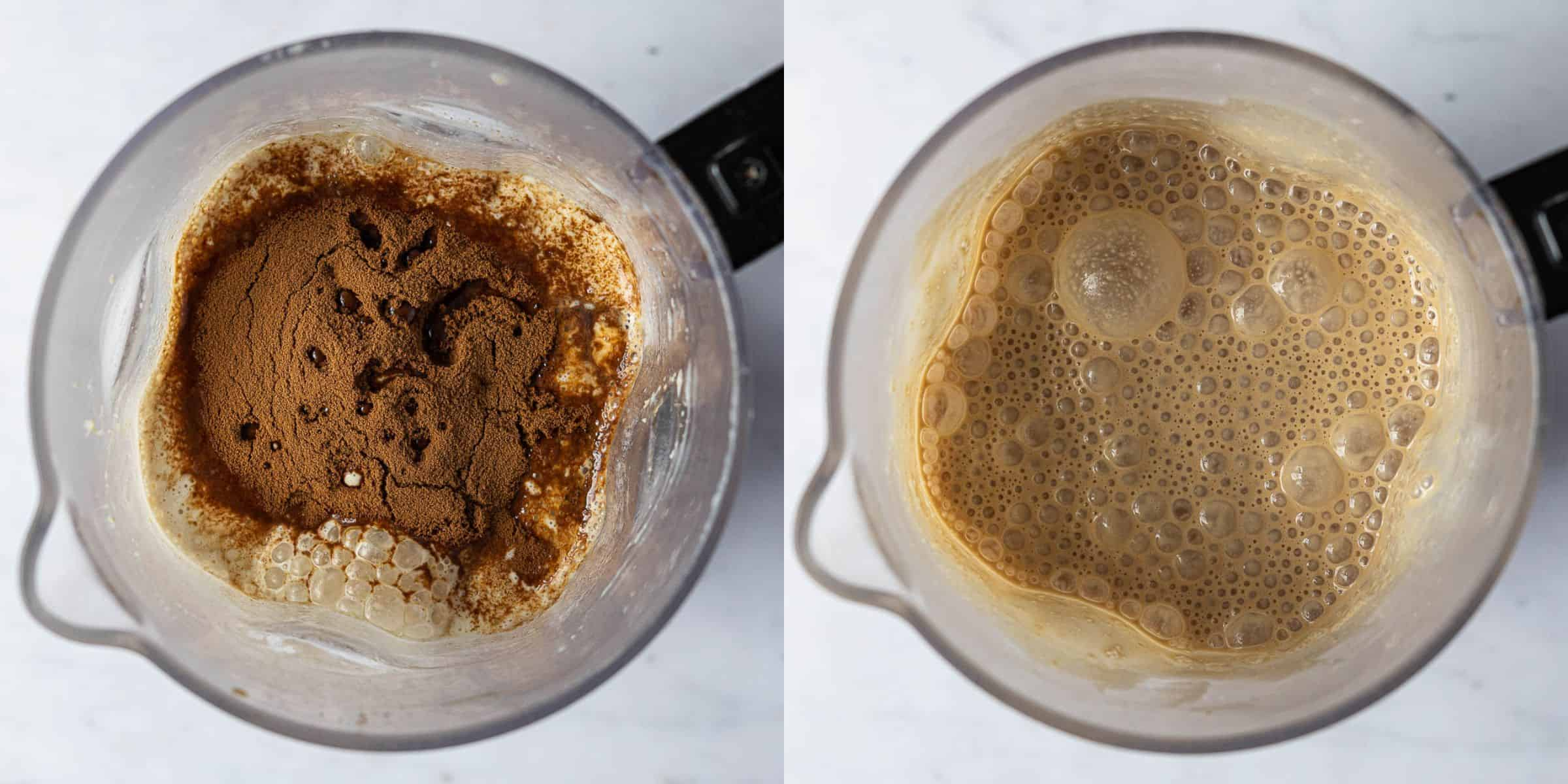 Step 3, a two image collage of adding all the ingredients to the blender and the blended ice cream base.