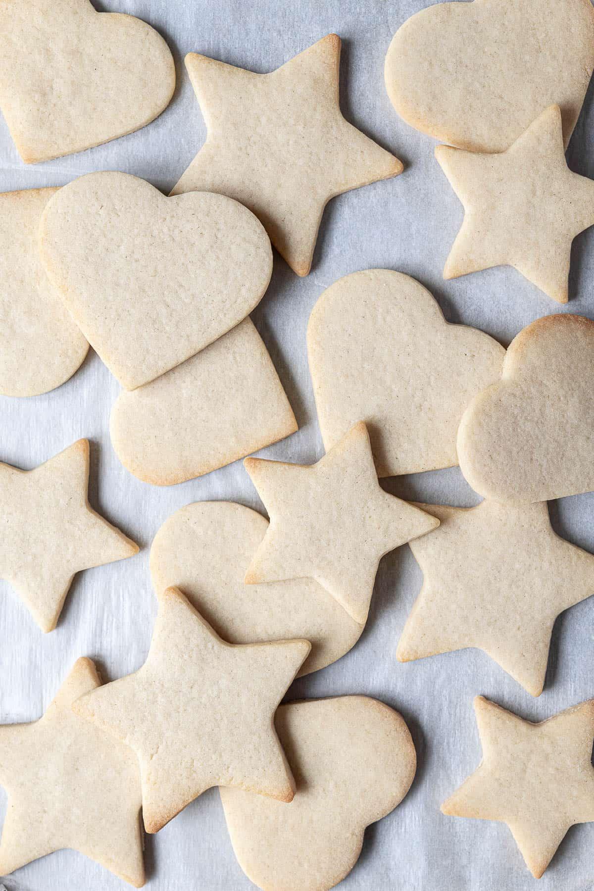 Close up of vegan vanilla sugar cookies.