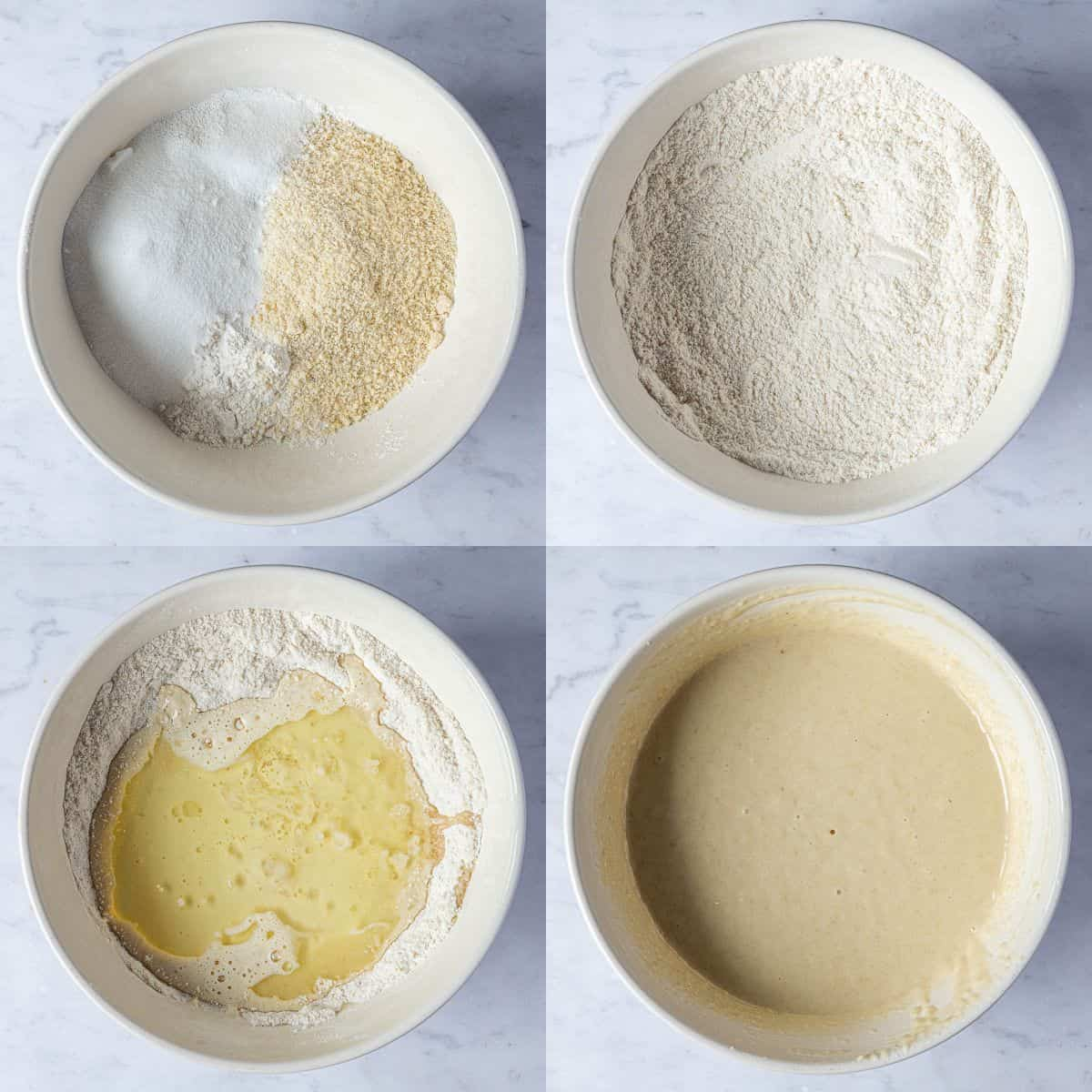Step 1, a four image collage of making the cake batter.