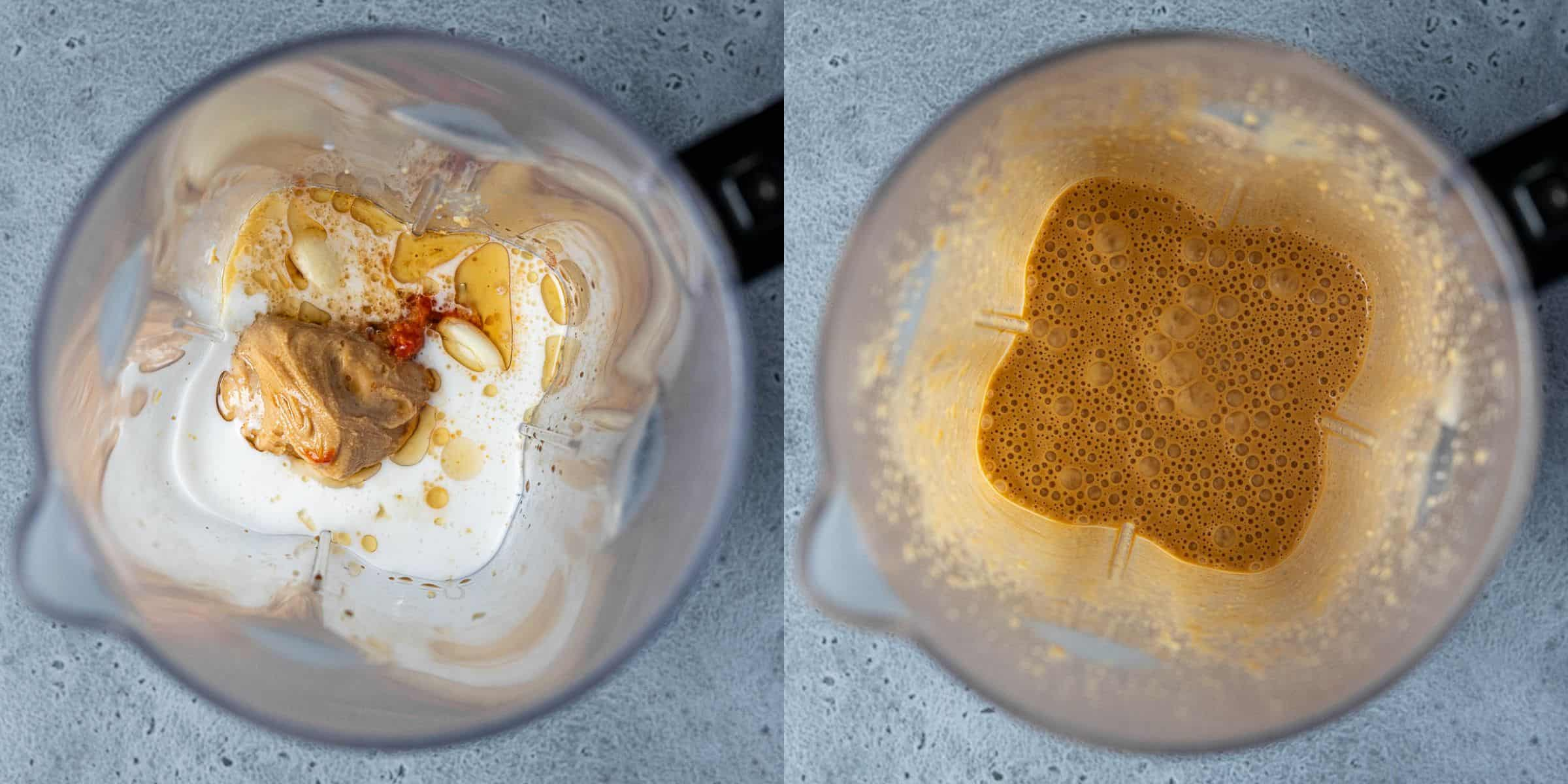 A two image collage of the sauce in a blender before and after blending.