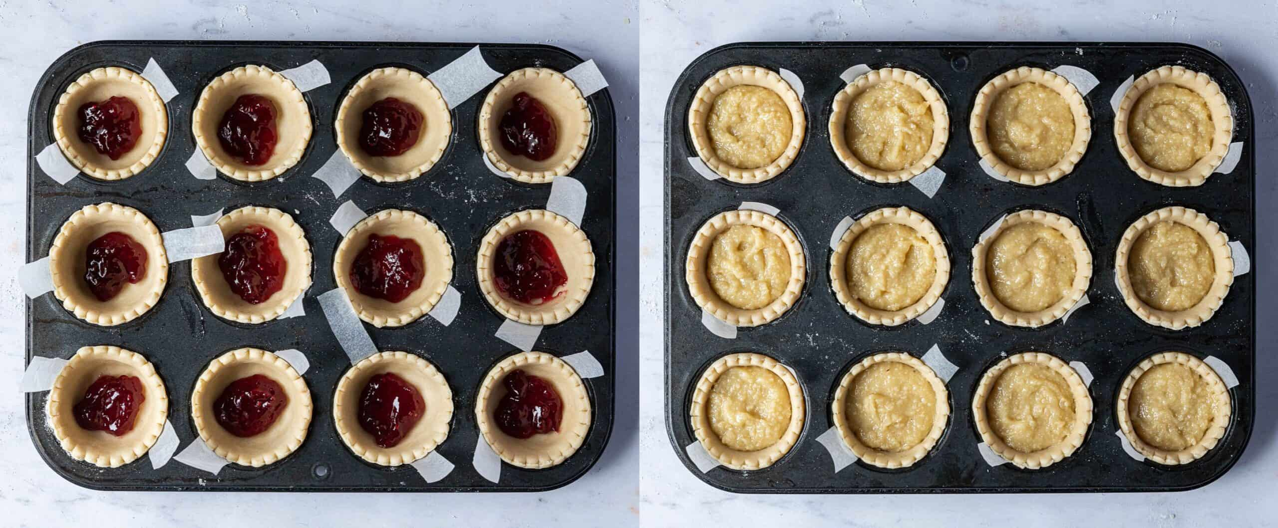 A two image collage of filling the pastry cases with jam and frangipane.