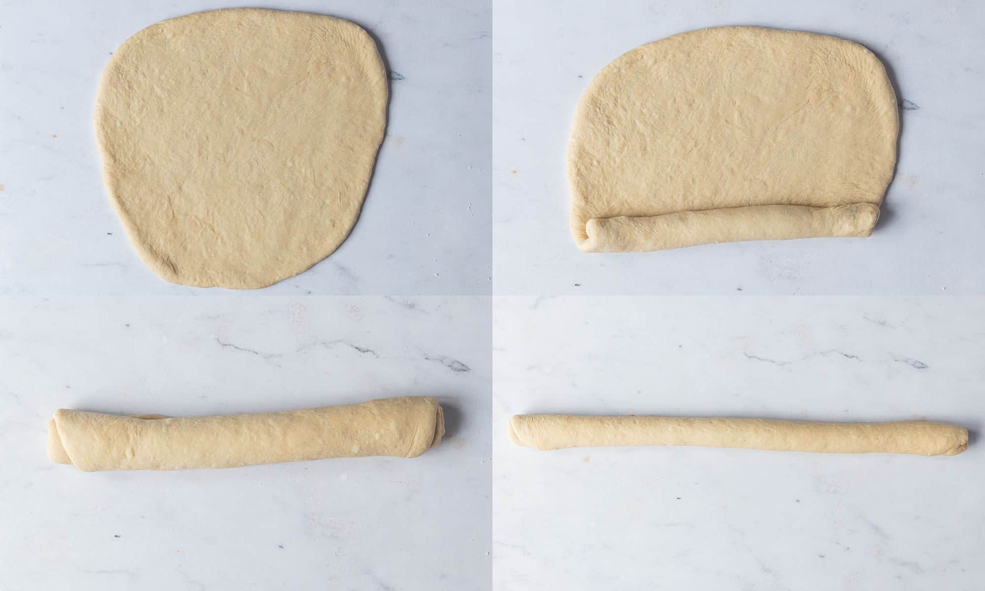Step 4, a four image collage of shaping the dough portion into a rope.