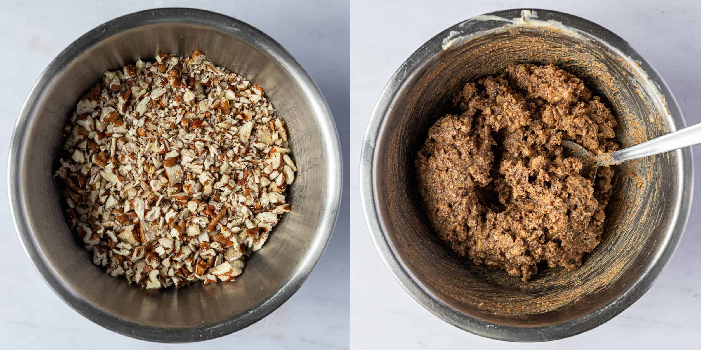 Step 3, a two image collage of the chopped pecans and the mixed filling.