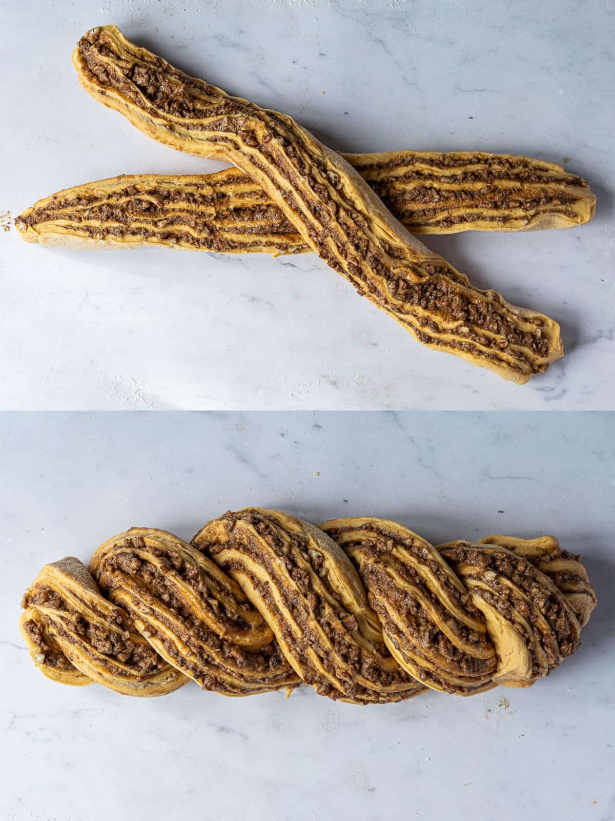 A two image collage of twisting the dough.