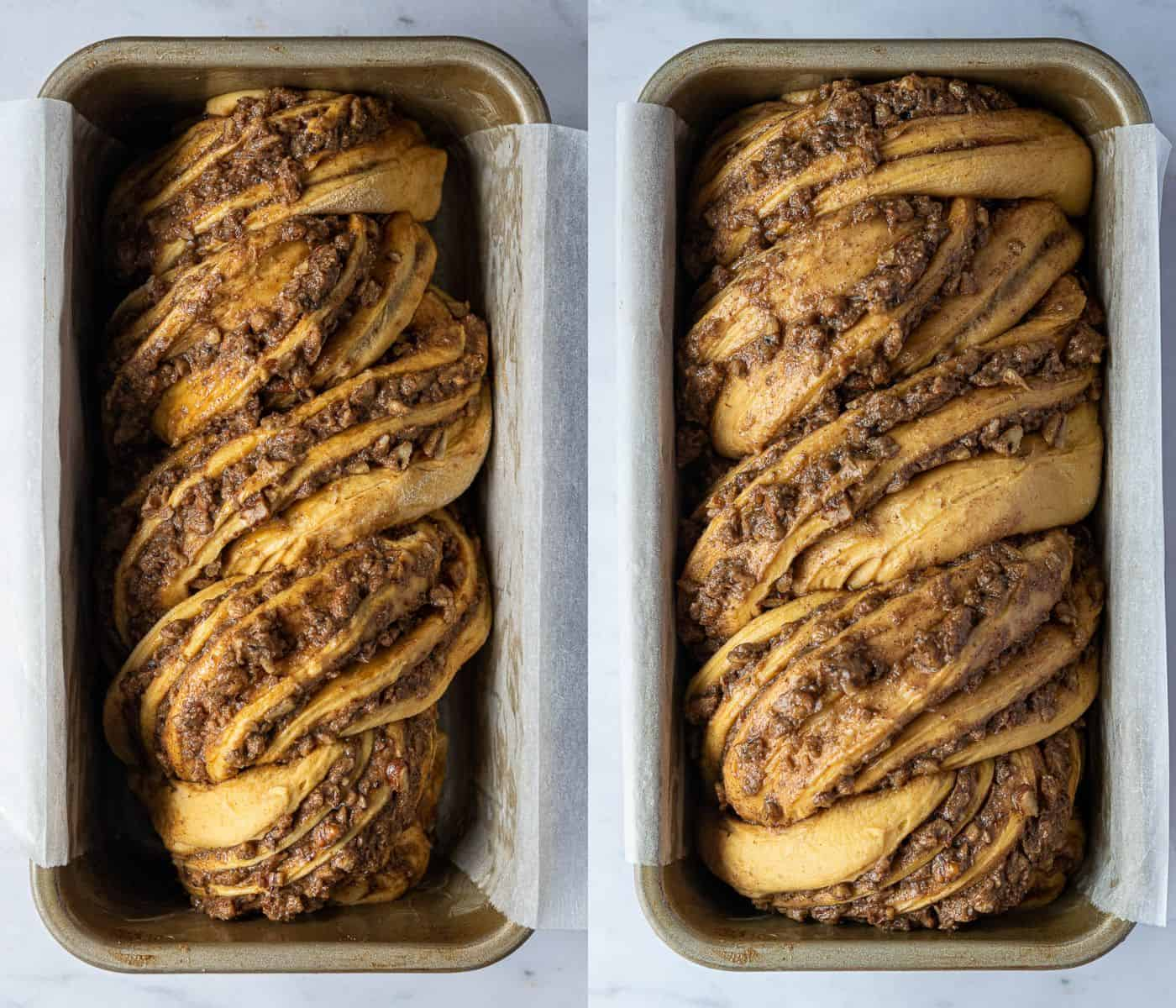 A two image collage of the babka before and after rising.