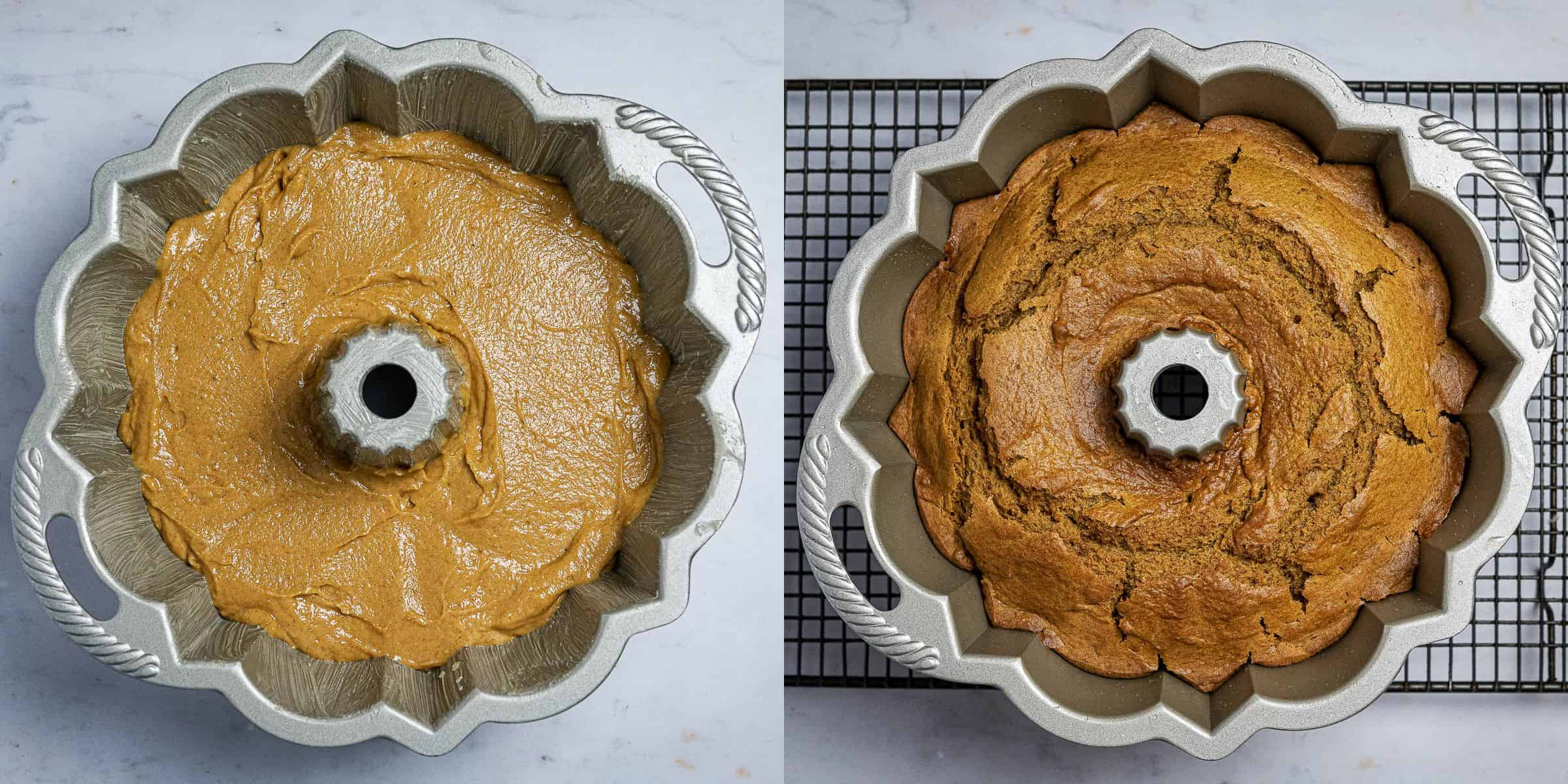Step 2, a two image collage of the cake before and after baking.