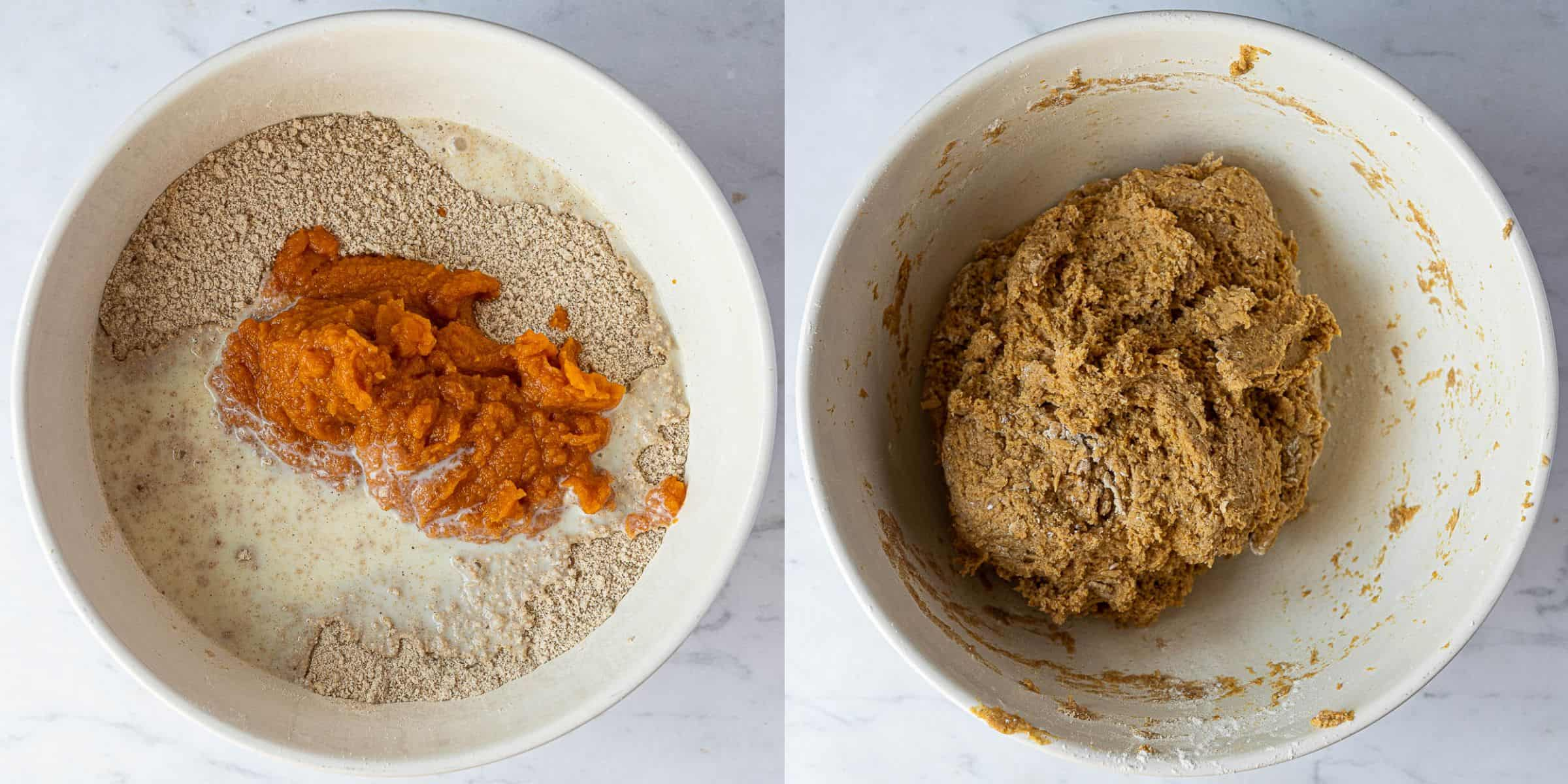 A two image collage of adding the wet ingredients and forming the dough.