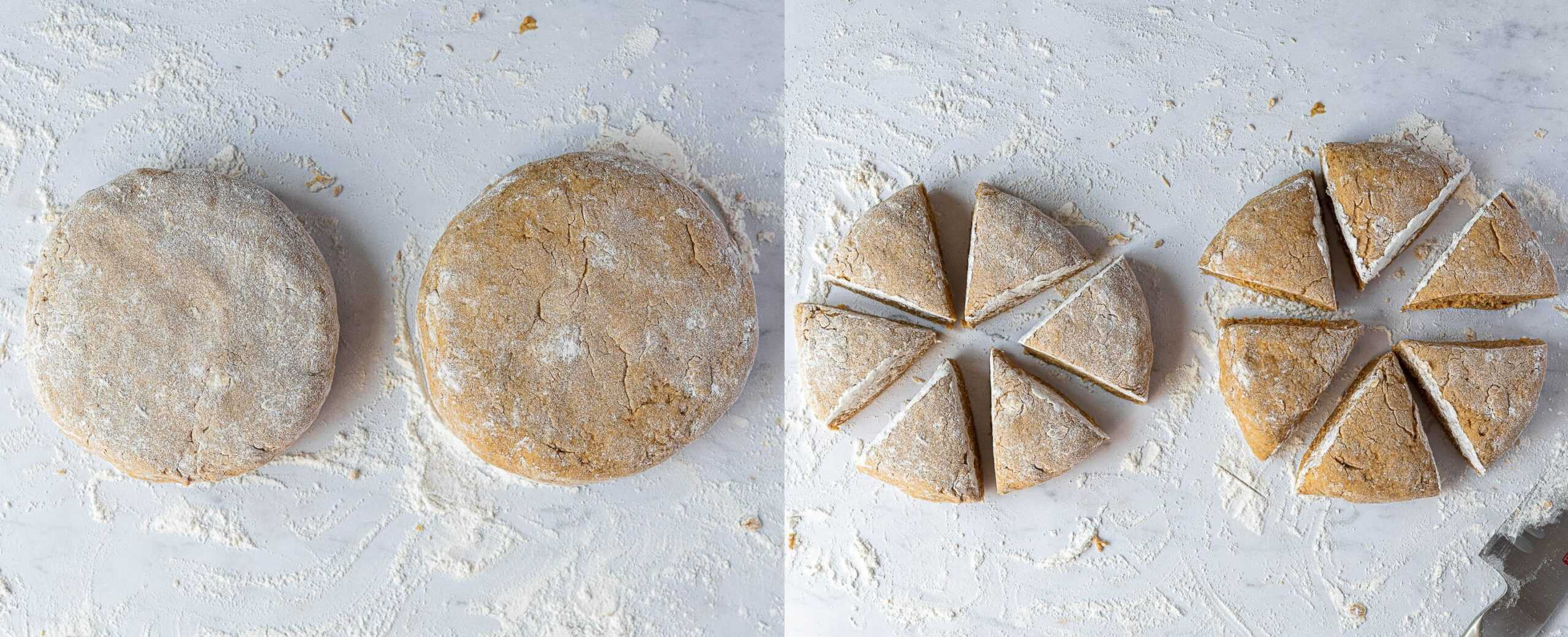 A two image collage of forming the dough into rounds and slicing them into triangles.