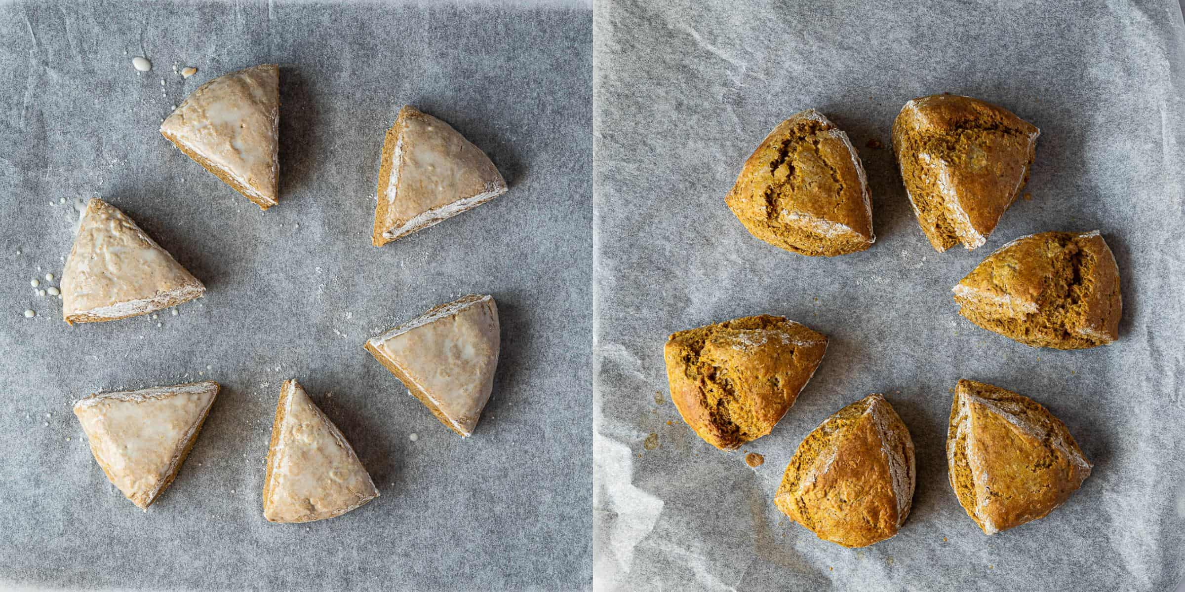 A two image collage of the scones before and after baking.