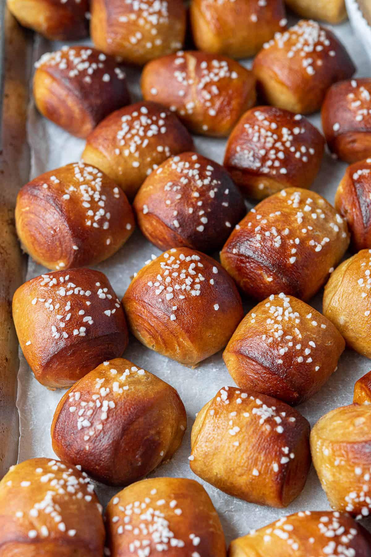 Close up of vegan pretzel bites.