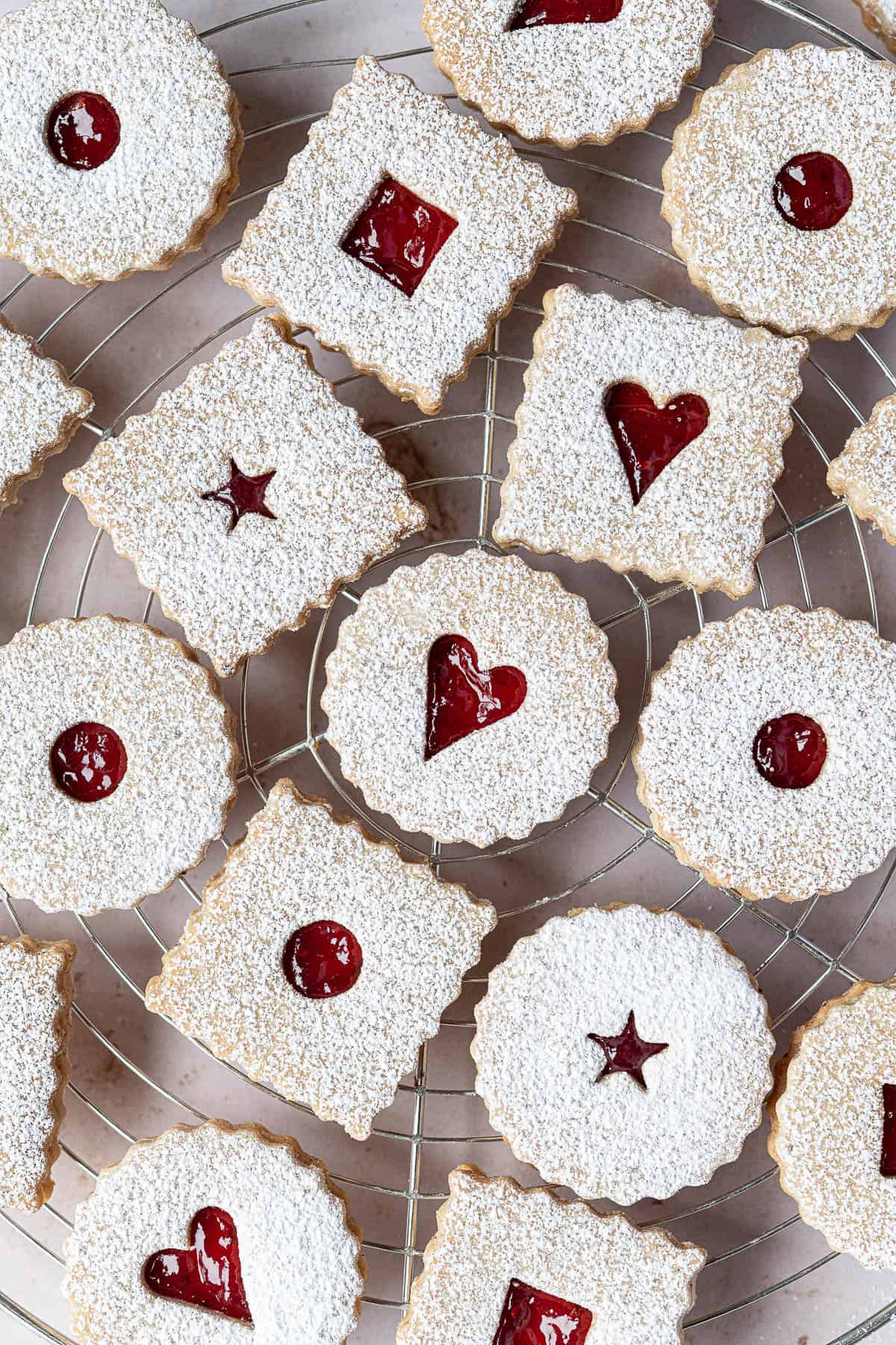 Close up of Vegan Linzer cookies.