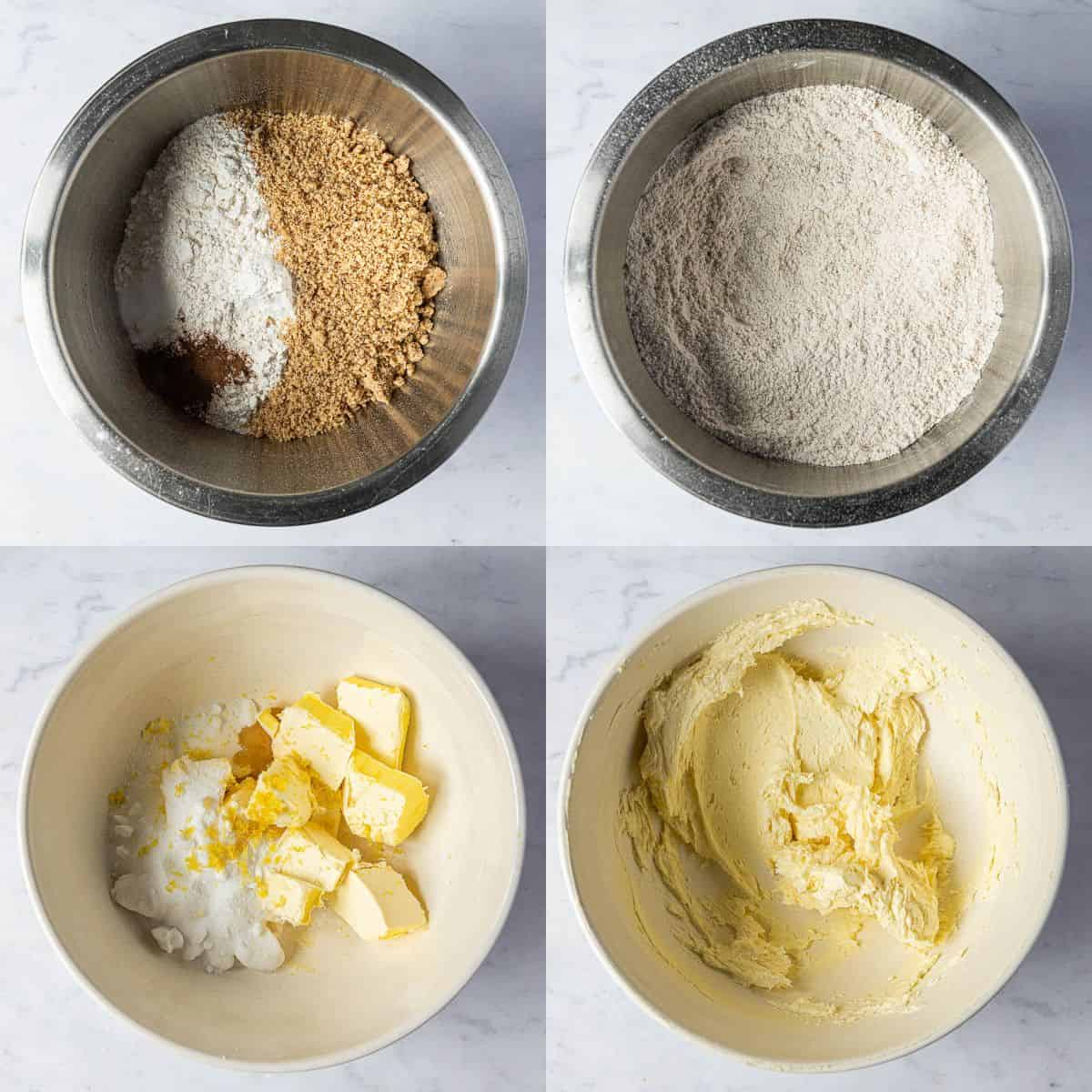 Step 1, a four image collage of mixing the dry ingredients and whisking the butter and sugar.