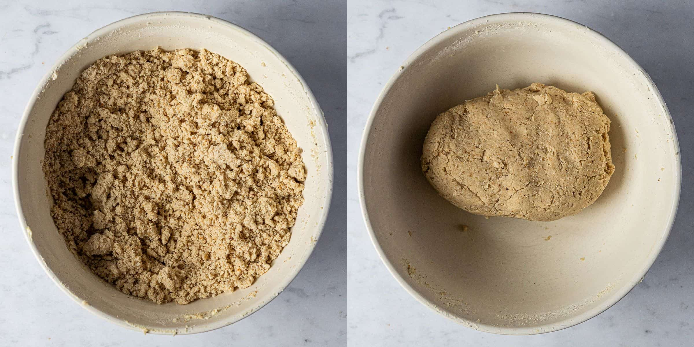 Step 2, a two image collage of making the dough.