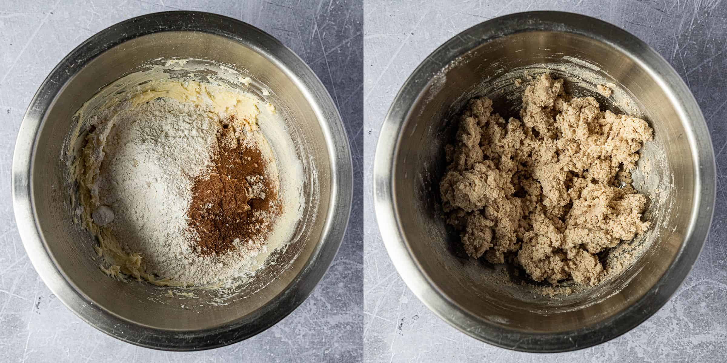 Step 3, a two image collage of mixing in the dry ingredients.